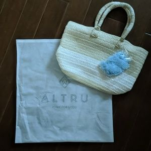 Altru  Made for Good Straw Tote with Blue Tassle